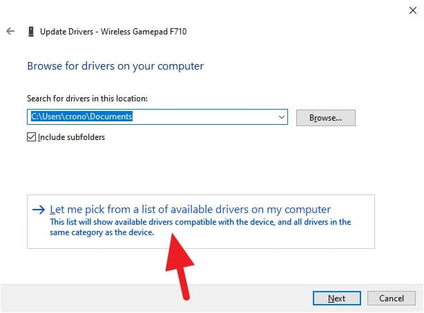 let me pick from a list of available drivers on my computer Cara Mengatasi Logitech F710 Tidak Bisa Connect ke Windows 4 let me pick from a list of available drivers on my computer