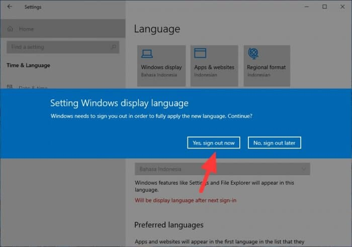 Yes sign out now Cara Mengubah Bahasa di Windows 10 Menjadi Indonesia 5 Yes sign out now