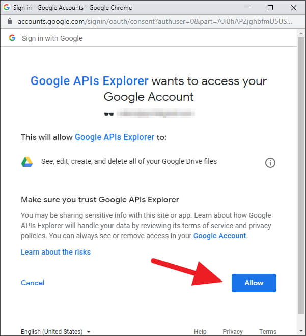 Accept Permission - How to Delete All Google Drive Trash Files at Once 9