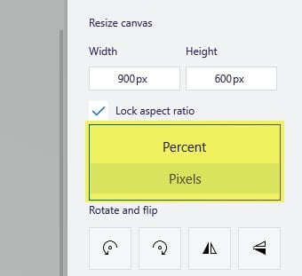 Percent and Pixel soptions - How to Resize Image in Paint 3D Easily 18