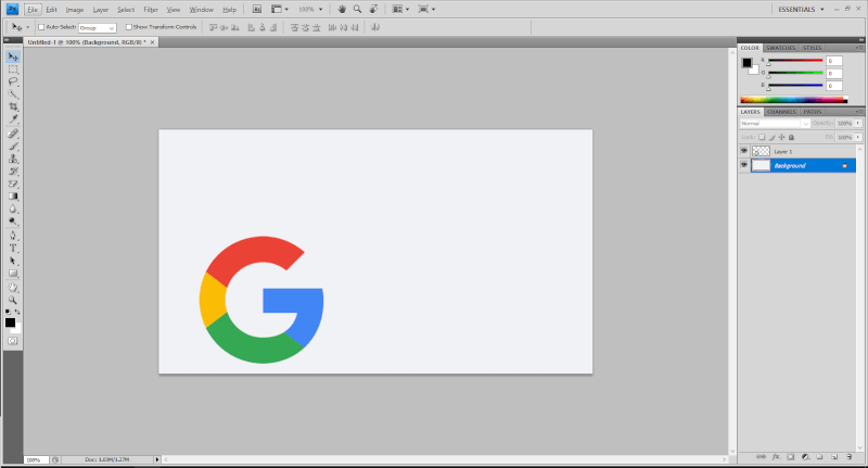 Adobe Photoshop with Google logo - How to Center an Image in Photoshop 5