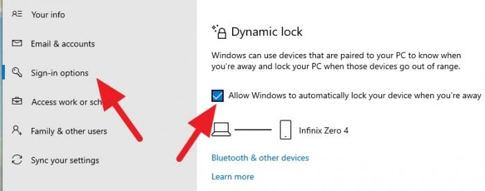Dynamic lock activated - How to Auto-Lock Windows 10 PC When You Leave 3