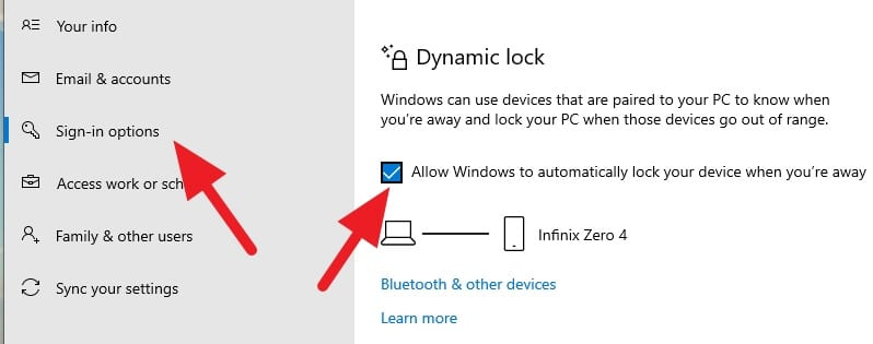 Dynamic lock activated - How to Auto-Lock Windows 10 PC When You Leave 23