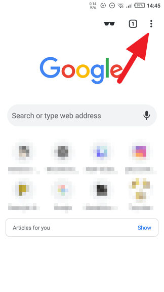 Chrome Android menu icon - How to Start Chrome Android Always Start with Blank Page 5