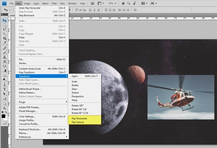 Flip object - How to Instantly Flip Image in Photoshop 13
