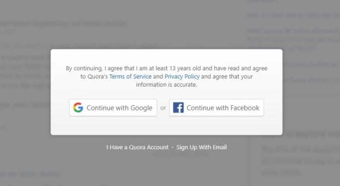 Quora restriction - How to Open Quora's Page Without Login/Register 3