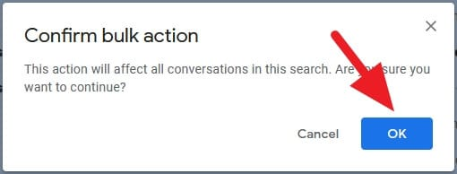 confirm bulk action - How to Mark All Unread Emails as Read in Gmail Instantly 15
