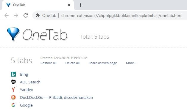 saved tabs OneTab - 3 Quick Ways to Restart Chrome Without Losing Tabs 9