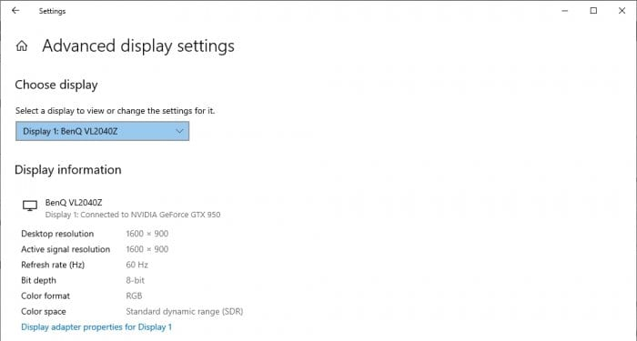 advanced display settings - 3 Ways to Check Monitor Specs in Windows 10 7