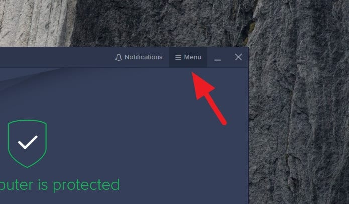 avast menu - How to Disable Avast Notifications, Messages, & Alerts 7