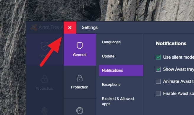 close avast 1 - How to Disable Avast Notifications, Messages, & Alerts 15