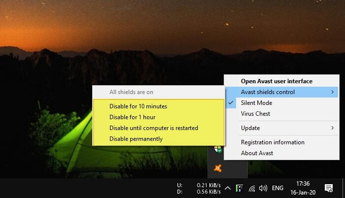 disable Avast shields - How to Install Blocked Programs by Avast 3
