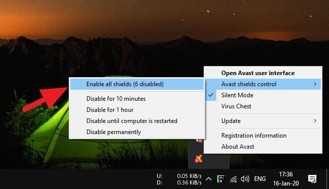 enable all shields - How to Install Blocked Programs by Avast 13