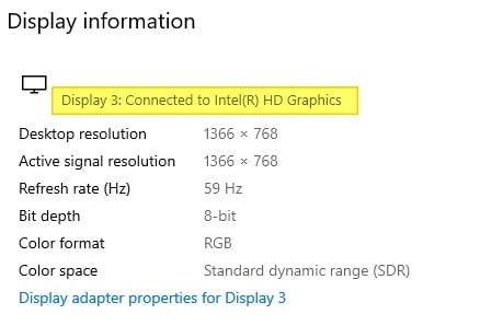 Display information - How to Check Intel HD Graphics Version 15