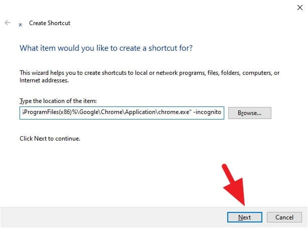 target - How to Create Chrome Incognito Mode Shortcut on Desktop 7