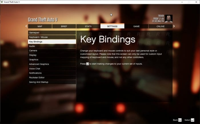 Key Bindings - How to Disable Recording in GTA V PC 5