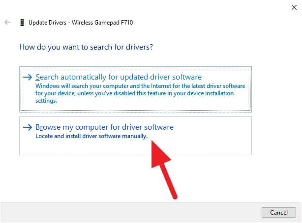 browse my computer for driver software - How to Fix Logitech F710 Can't Connect to Windows 10 9