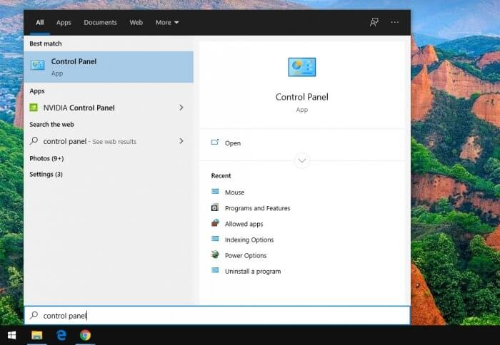 control panel 1 - How to Switch Mouse Clicks for Left-Handed Person on Windows 7