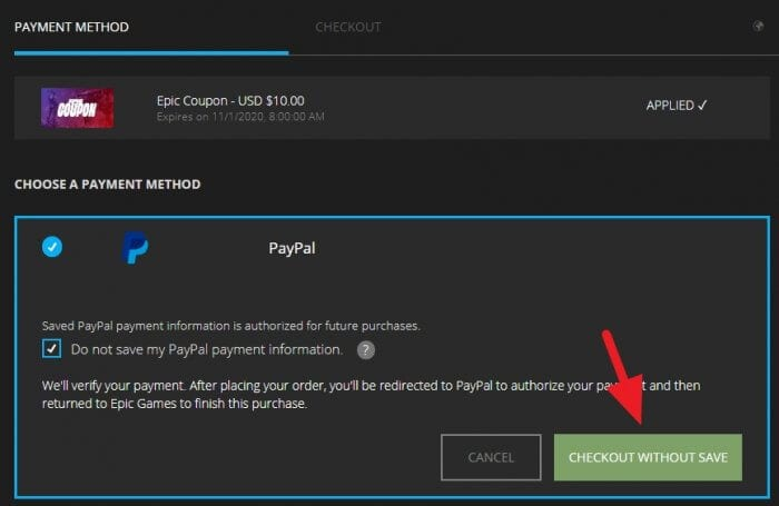 Checkout Without Save - How to Buy Game from Epic Store Using PayPal 3