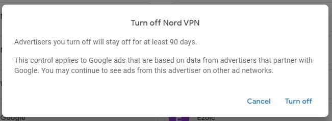 Confirm turn off - How to Make Google Advertisements Relevant to You 11