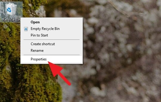 Properties of Recycle Bin - How to Always Delete Files Permanently on Windows 5