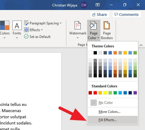 Fill effects - How to Change Background Color on Microsoft Word 17