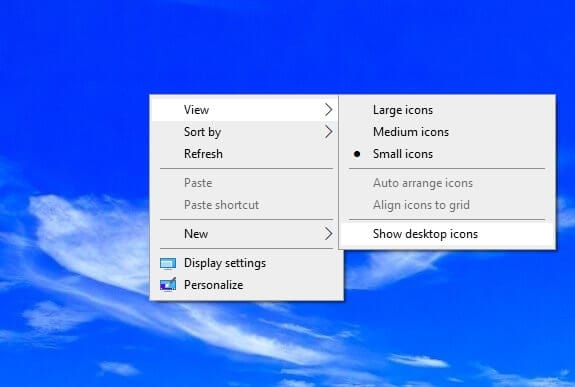 Show desktop icons 1 - How to Quickly Hide Desktop Icons on Windows 3