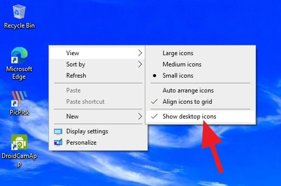 Show desktop icons - How to Quickly Hide Desktop Icons on Windows 5