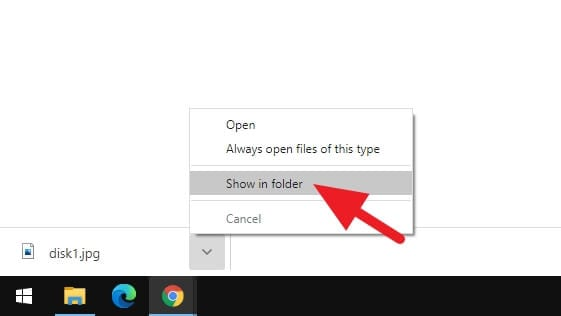 Show in folder menu 1 - How to Transfer Photos from Email to USB Stick 7