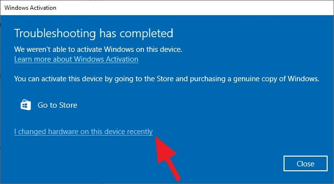 I changed hardware on this device recently - How to Reactivate Windows 10 After Upgrading PC 3