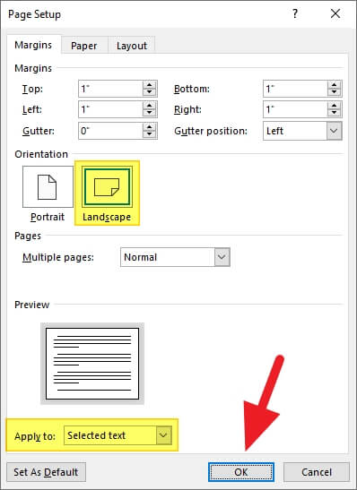 OK 2 - How to Make Microsoft Word Document to Landscape 15