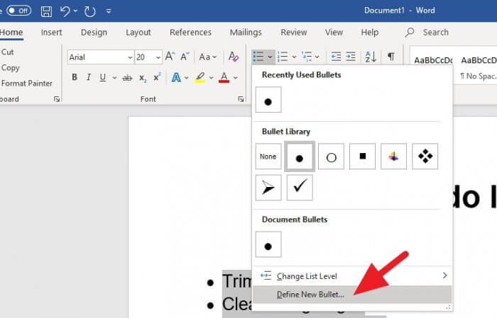 Define new bullet - How to Make a Printable Checklist in Microsoft Word 9