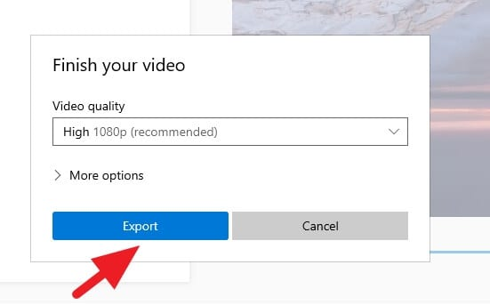 Export 1 - How to Rotate a Video in Windows 10 Video Editor 21