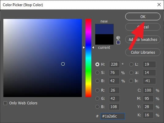 color picker 1 - How to Make Gradient More Than Two Colors in Photoshop 11