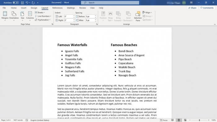 two columns only for lists - How to Make Bullet Points List in Ms. Word Side By Side 3