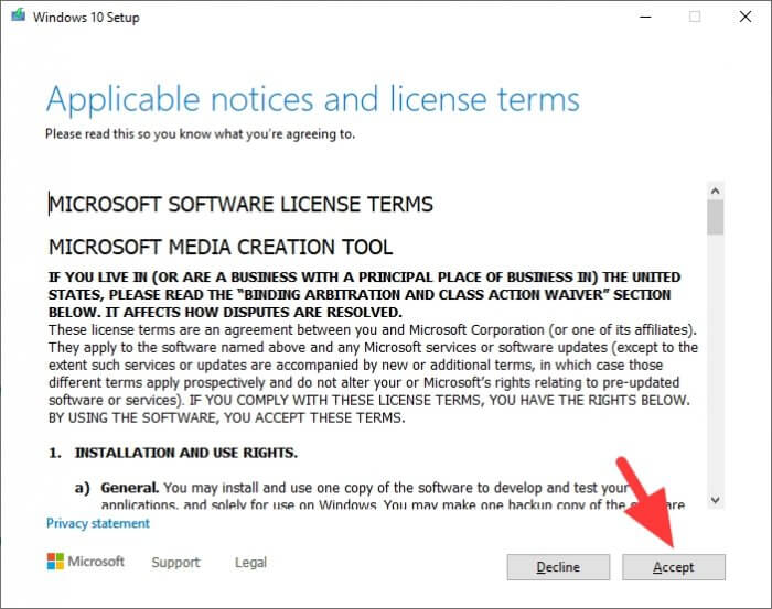 Accept - How to Make Windows 10 Bootable Flash Drive Without 3rd-Party App 11