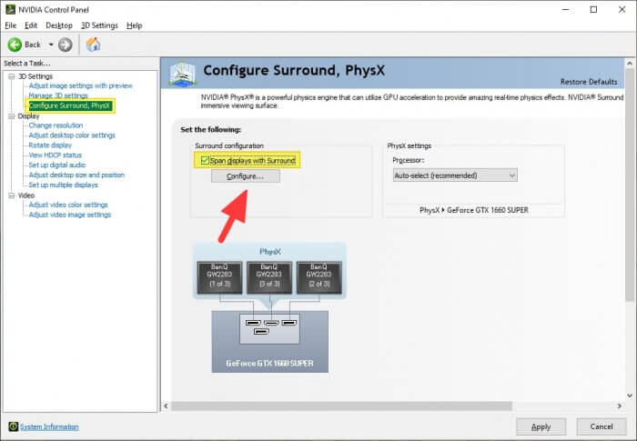 Configure - How to Setup NVIDIA Surround for Triple Monitor Gaming 7