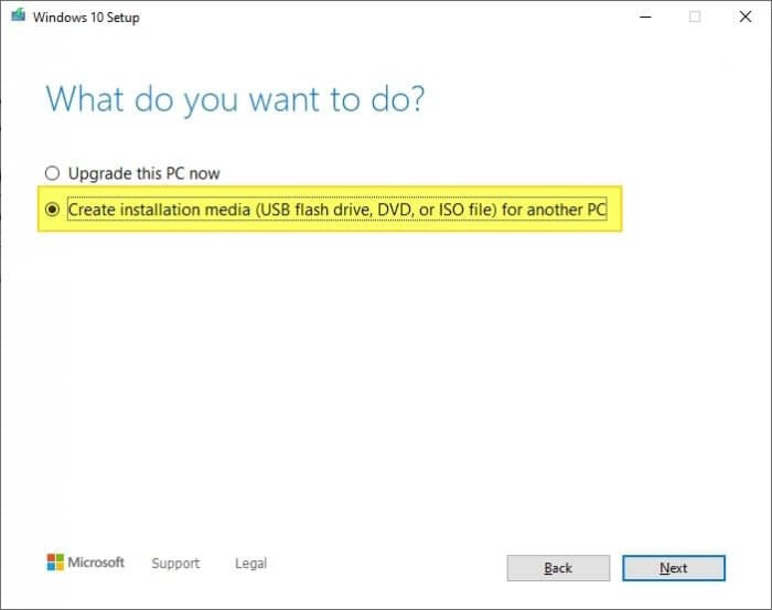 Create installation media - How to Make Windows 10 Bootable Flash Drive Without 3rd-Party App 13