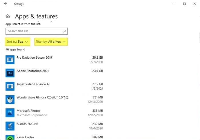 Sort by size - How to Quickly Find The Largest Files on Windows 10 13