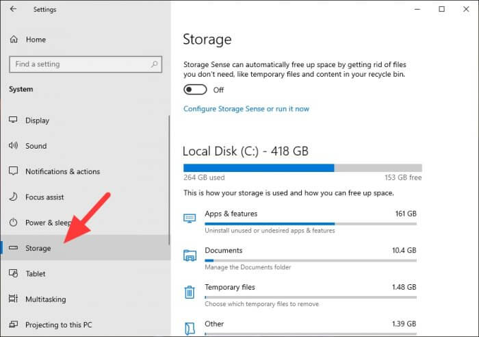 Storage 1 - How to Quickly Find The Largest Files on Windows 10 9