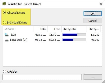WinDirStat select drives - How to Quickly Find The Largest Files on Windows 10 19