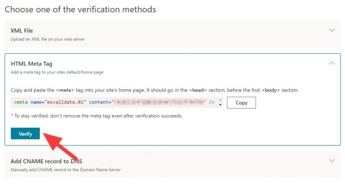 Verify - How to Add a Website to Bing Webmaster Tools 11