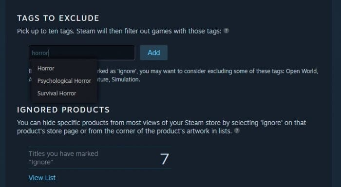tags to exclude - How to Block Specific Tags on Steam from Appearing 9