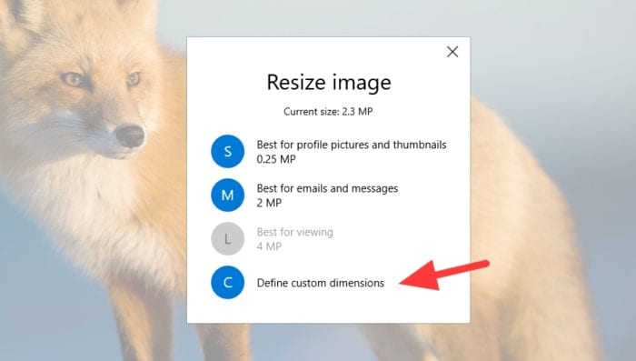 define custom dimensions - How to Resize a Picture on PC Without Third-Party App 19