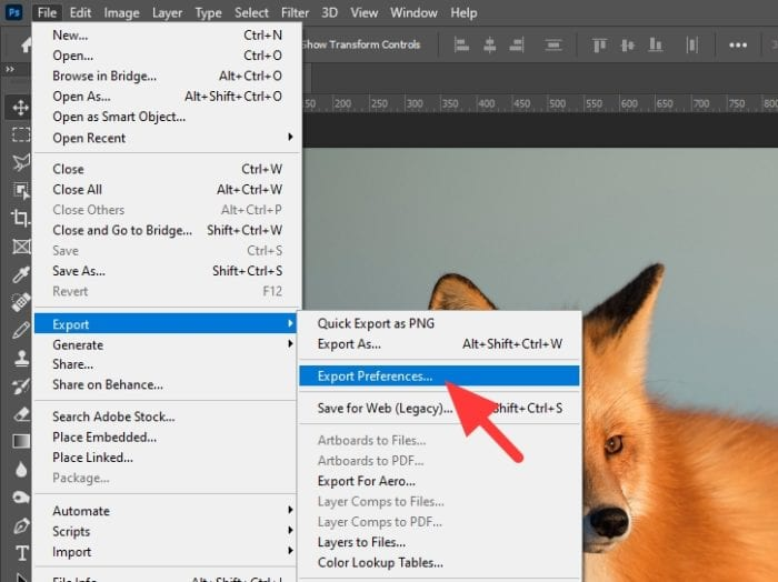 export preferences - How to Change Photoshop Default Save format to JPG 7