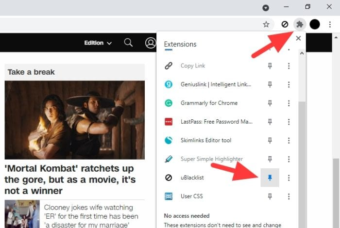 extensions pinned - How to Block Certain Websites From Google Search Results 9