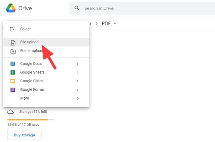 file upload - How to Convert PDF to Word Document with Google Docs 5