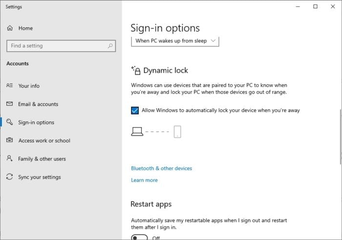 Dynamic Lock - How to Instantly Lock Your Windows 10 PC When Not in Use 13