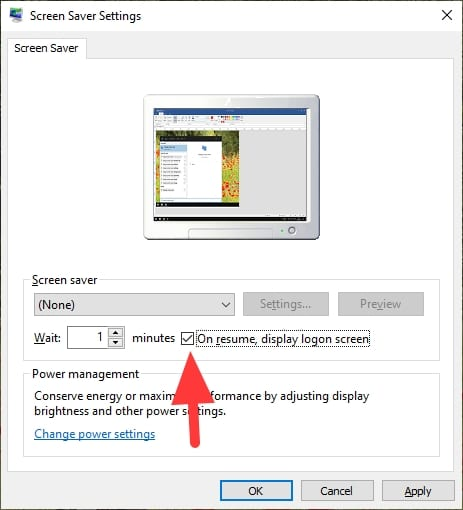 On resume display logon screen - How to Instantly Lock Your Windows 10 PC When Not in Use 11
