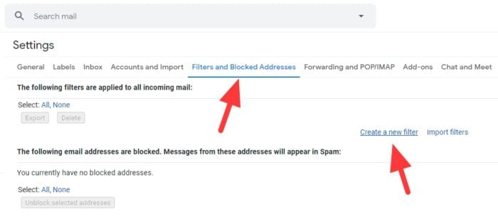 create new filter - How to Auto Delete Old Emails in Gmail 9